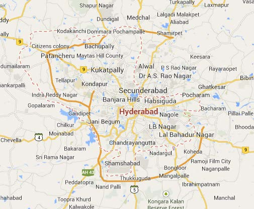 Map of Hyderabad, India