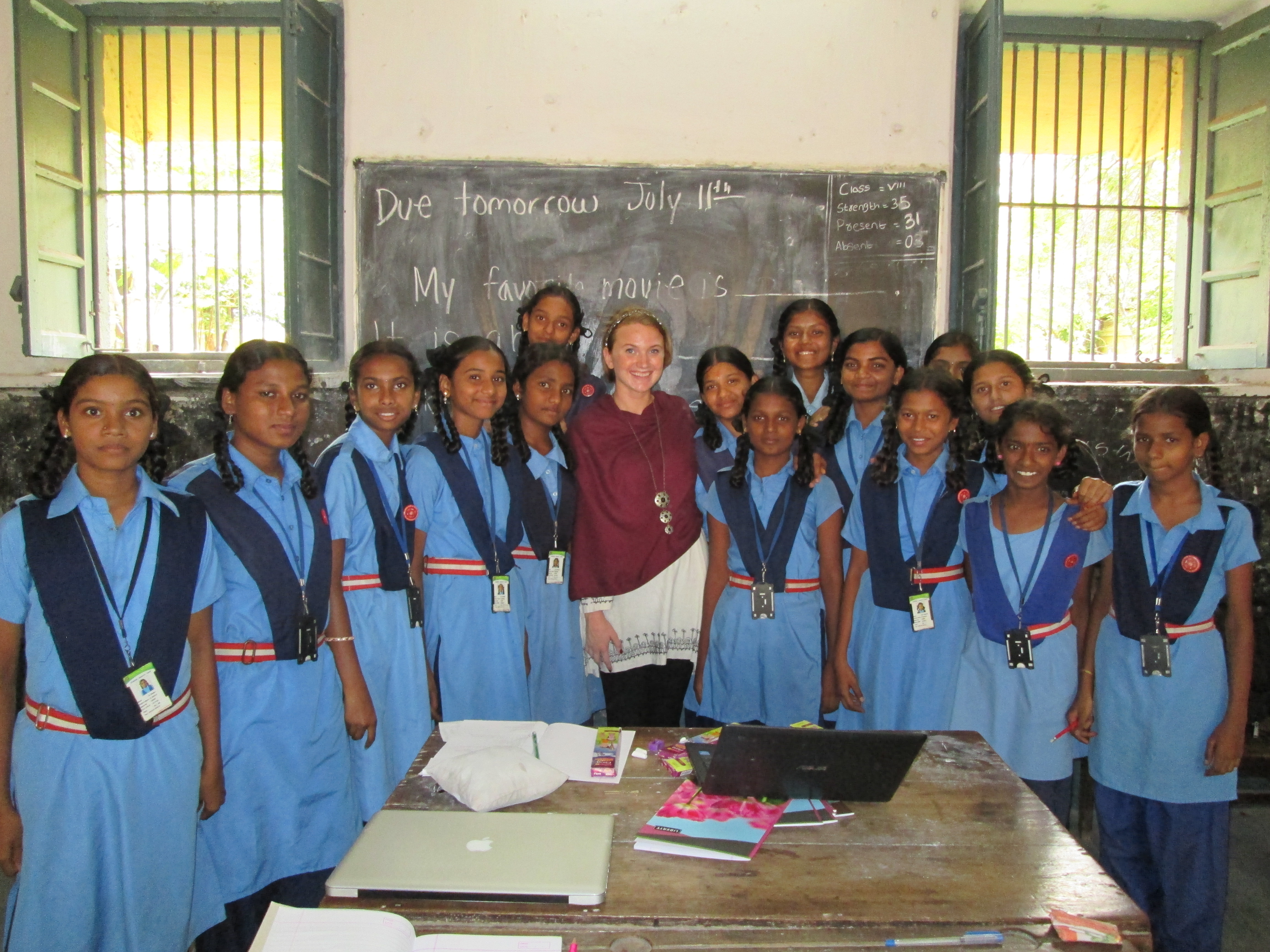 lassroom girls TMS Fellow Dara and the girls from Railway pose for a picture on the first day ...