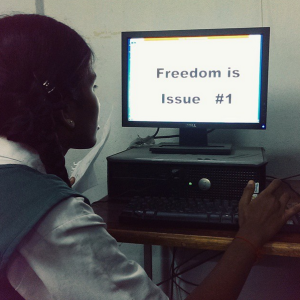Bhargavi works on issue 1.